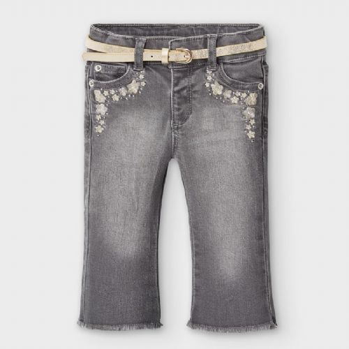 Grey Jeans with Gold Belt and Embroidery 6 Months